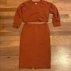 AA umber burnt orange crop top pencil skirt set m